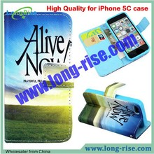 High Quality Alive Now Pattern Flip Leather Case Cover for iPhone 5C Case with Card Slot