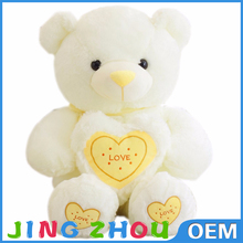 organic cotton teddy bear with heart,new stuffed plush teddy bear,pure white soft bear toy