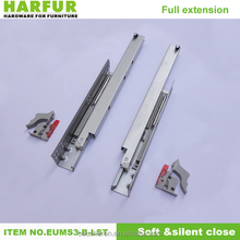 Tandem undermount drawer slides with hydralic damper soft closing, plastic clips