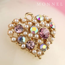 H211 Phone Strap Charm Pink Pearl Crystal Heart Love Charm Jewelry Making