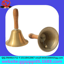 Manufacturers selling hardware metal wood handle 3 inch 11 cm tall 8CM D hand bell bronze bell school bell
