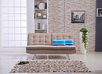 Living Room Fabric Click Clack Sofa Bed With Chrome Legs