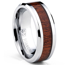Yiwu Aceon Stainless Steel Men's Titanium Real Wood Inlay Flat Top Band Comfort-fit Ring