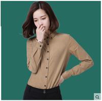 Plus Size Formal Blouse Shirt For Women 2016 Plain Dyed Blouse