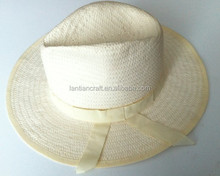 promotional white panama hat wide brim with band wholesale