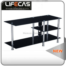 hot sale black glass cabinet tv stand and TV table popular home furniture design modern led tv stand showcase