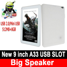 New Model MAX935 9 Inch Quad Core A33 512MB 8GB WIFI 3G Bluetooth Android 4.4 Tablet PC