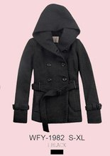 2012 lady winter wool jacket with belt and hood