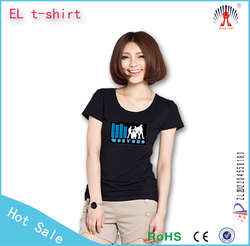 100 cotton el t shirt /el flashing t shirt/180g lighting led t shirt