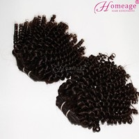 Homeage deep curly lovely Malaysian hair weave 100 virgin unprocessed real young girls hair