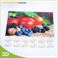 2015 custom Full Color Printing wall Calendar, 3D lenticualr calendar