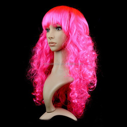 2015 Wholesale cheap None Lace Wig synthetic hair hot pink long curly wigs