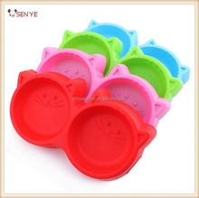 Cute Plastic cat shaped pet dog double bowls with candy colors