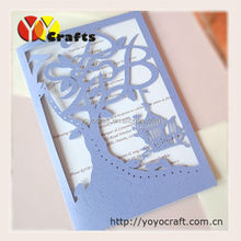 Lovely bird cage folded customized marriage invitation card samples
