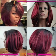 Fashion&High Quality 100% Human Hair 1B/Burgundy Ombre Peruvian Lace Front Wig