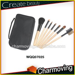Charmoving 7 pcs Travel Natural Hair Makeup Brush Set With Hand Bag