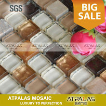 Stone Glass Tile - glass and stone mosaic tile, stone mix amber glass background wall tile ESSZGS078
