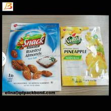 Resealable food grade plastic bags/bag for packaging snack/3 side seal plastic bag