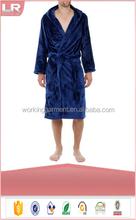 Men's Hooded Velour Fleece Bathrobe