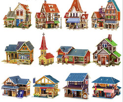 3D jigsaw puzzle children's educational wooden DIY house toys