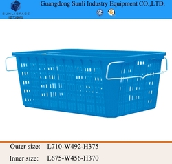 131L Supermarket PE Storage Plastic Shopping Basket with handle
