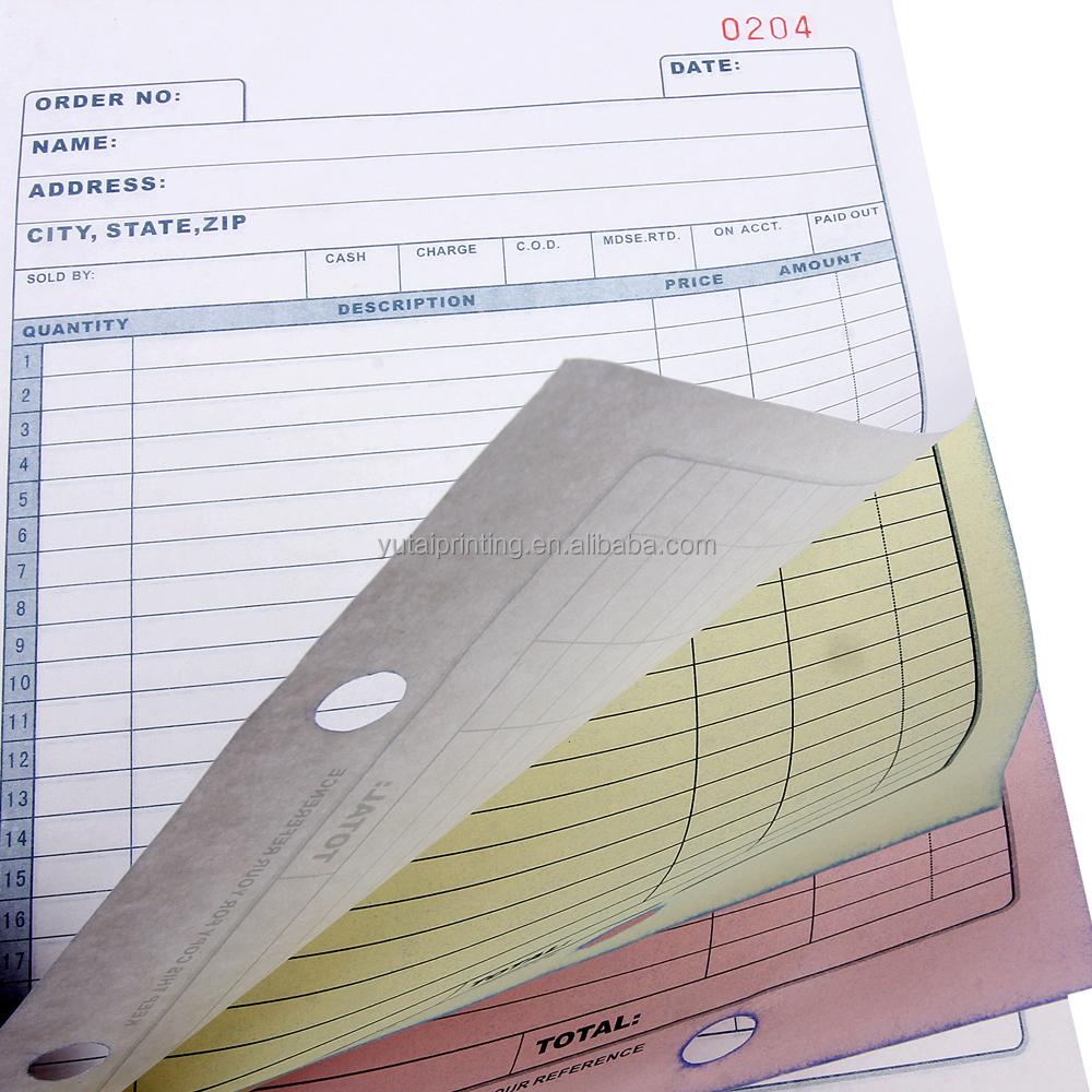 Clear Copy Carbonless Bill Book Printing Customized Buy Bill Book - Custom carbonless invoice book
