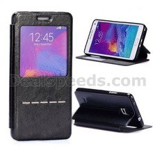 Calling in LED Flash Smart Sliding Flip Cover Stand TPU+PU Leather Window View Case for Galaxy Note 4 N910
