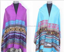 High qualily fashion multi-colored striped ladies pashmina fringed shawl