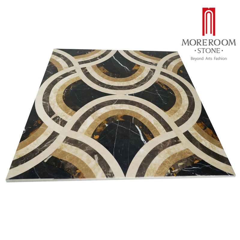 Moreroom Stone Italy Portopo Gold Marble Nero Margiua Black Marble Turkish Beige Marble Flooring Tiles Water Jet Medallion Floor Design Polished Marble Backed Ceramic Tiles-3.jpg