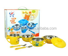 tableware wholesale stainless steel color bowls set with fork spoon and plastick lid for kids