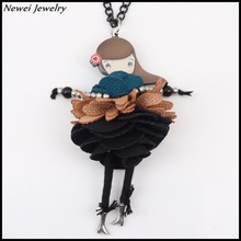 Newei 2015 Fashion Jewelry Accessories Acrylic Alloy Black Dress Girl Doll Necklace Pendent