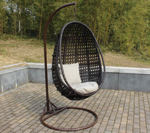 Brown PE rattan wicker hanging swing egg chair with arm