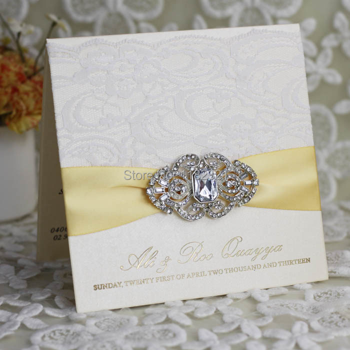 White Paper Lace Wedding Invitation Card With Gold Stain And Luxury ...