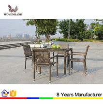 Water resistant PE wicker Outdoor Dining Square Table Set with 4 chairs