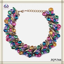 Bead designs colorful acrylic beads antique gold leaves shape collar chunky necklace for women