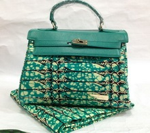 wholesale african Wax fabric and leather ladies handbag