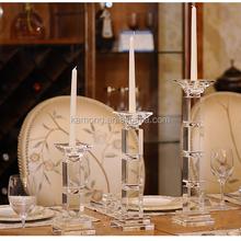 Wholesale High Quality Elegant Cut Crystal Pillar Tall Candlesticks Taper Candle holder Home Decor