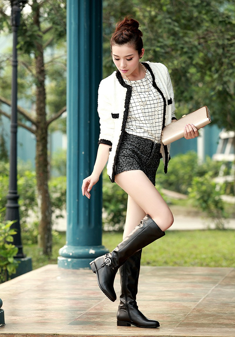 Genuine Cow Leather Black Yellow Solid Color Square Thick Women