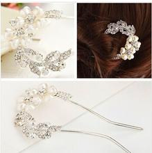 Fashion Hair Jewelry Wedding Bridal Pearl Hair Accessories Hair Sticks Rhinestone Flower Tiara