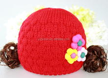 Korean winter baby knitted cap, sweat princess hat with 3 Plum Blossoms