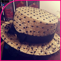 The princess style ms fashion summer hat Bud silk gauze wave point bowknot lady's sun hat
