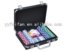200pcs black jack daniel aluminum cases poker chips game set