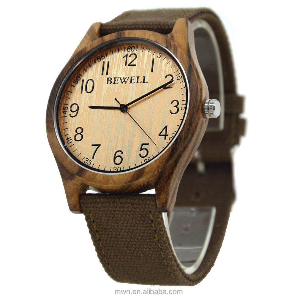 Correa de lona de la manera reloj pulsera estilo especial regalos de Navidad de madera reloj