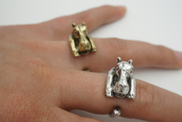 2015 Fashon Animal Ring Bronze Silver Tone Hippo Rings for Women wrap Stretch Adjustable ring