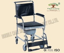 Steel manual commode wheel chair with PU commode