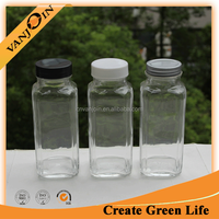 Clear 8oz French Square Glass Bottles With Cap