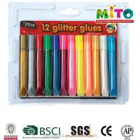 2015 hot sale 10.5ml different colors non toxic glitter glue