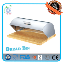 stainless steel satin finished lid and handle black wooden base bread box