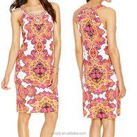 Anly wholesale women big flowers symmetrical printed elastic tight short haleter neck dresses