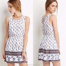 OEM China wholesale sleeveless crisscross back white printed floral fancy dresses for girls